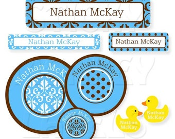 Baby Label Pack, Damask and Dots Blue