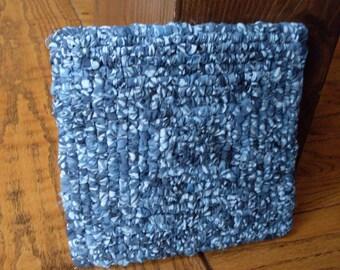 7 x 7 Inch Colonial Blue Batik Pot Holder,  Denim Blue Snack Mat, Country Kitchen Trivet,  Blue Batik Trivet