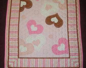 Pink and Brown Hearts Baby Quilt