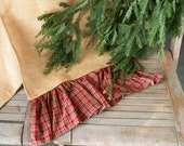 Burlap Ruffled Table Runner with  Red Plaid Ruffle