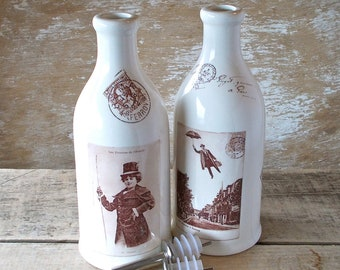 Vinegar and Oil Cruets or Bottles, French Postcards, Tall Pottery Bottles, Pouring Tabletop, Decor, Housewares, Ready to Ship