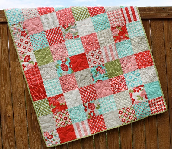 Vintage Modern Floral Baby Girl Quilt By Jennymsquilts On Etsy