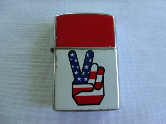 Vintage 1969 American Peace Sign Zippo Style Lighter Penguin