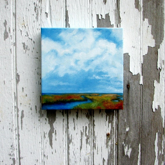 Oil painting original art marshland landscape clouds home decor painting 8x8 - Marshland Journey