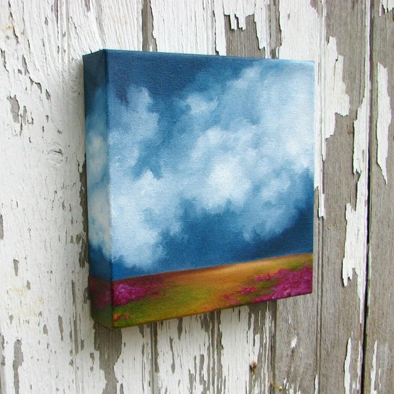 Landscape oil painting original art thunderstorm clouds home decor painting 8x8  - Hope