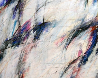 In The Snow, 8-28-12, (abstract painting, pastel, black, white, cream, blue, purple)