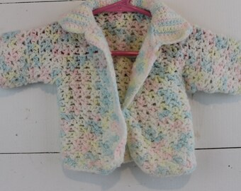 Vintage Crocheted Baby Sweater Pink Green White