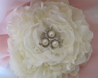 SALE.....Elegant Shades of  Ivory Wedding  Fascinator with Ivory Tulle and Chiffon with a Pearl and Rhinestone Accent