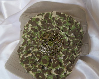 Sale....Cadet Military distressed hat Khaki  with A Olive Green and Brown Animal Print Fabric Flower and Gorgeous Embellishment
