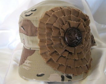 Cadet Military Distressed Hat in Desert Camouflage with a Brown Fabric Flower and Matching  Vintage Wood Button