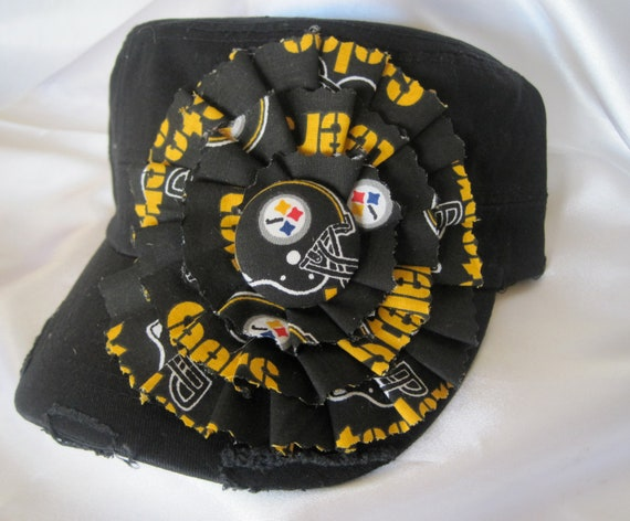 Black Cadet Military Distressed Hat  with a Pittsburgh Steelers Colored Fabric Flower and Steelers Button Accent