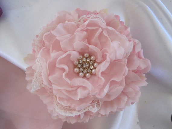 Pink Bridal Wedding Flower Hair Clip Brooch Pin with Ivory Lace and a Pearl and Rhinestone Accent