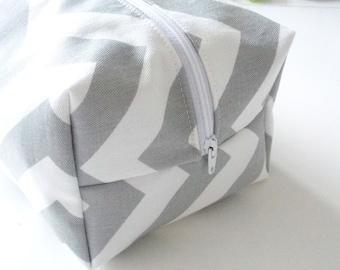 Grey Chevron Makeup Bag  - Cosmetic Pouch -  Lunch Bag - Wet Bag -Waterproof Bag