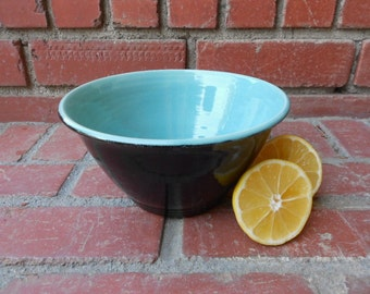 My favorite Black and Turquoise Gloss Bowl with interior Swirl