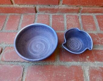 Set of 2 Amethyst Matte Purple Lavender Nesting Bargain Bowls