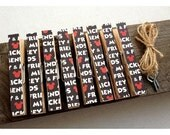 Clothespin Clothesline Photo Hanging Kit Disney Red White Black Lettering