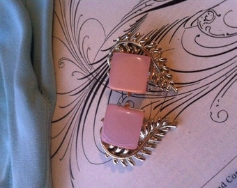 Vintage Silver Tone Pink Thermoset Plastic Coro Signed Clip On Earrings