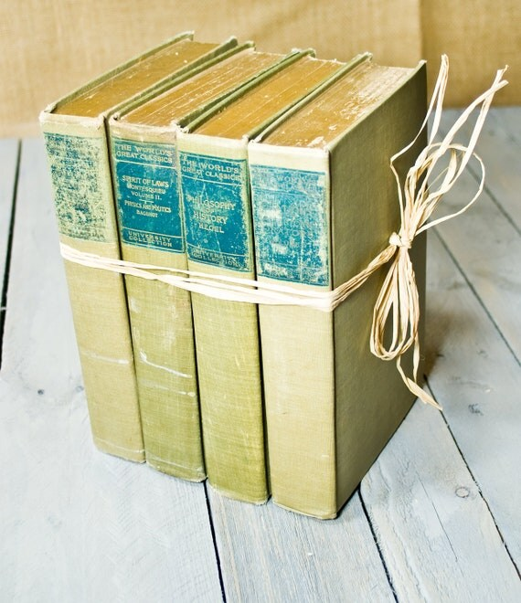 Vintage Books, Instant Library Collection, Decorative Book Bundle, Interior Design, Photography Props, Shades of green and teal ,Shabby Chic