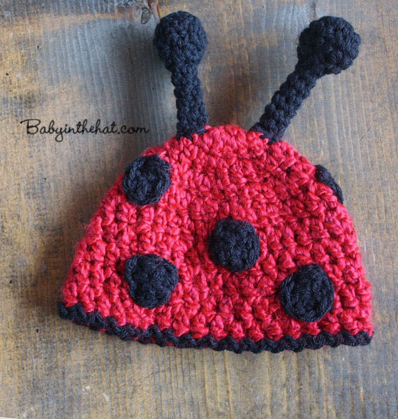 Newborn Little Ladybug Girls Crochet Hat Photo Prop 0-12 Months