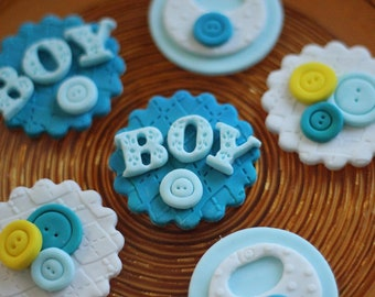 Baby shower fondant topper - cute as a button fondant toppers