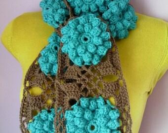 Crochet Scarf/ Neckwarmer, Women Accessories, Women Scarf green beige, sjaal, bufanda, cachecol, sciarpa, Schal, foulard, echarpe