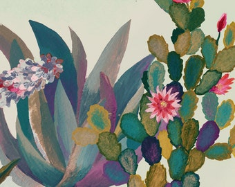 Desert flowers garden  - illustration - giclee print