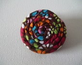 """Coil Blossom Coiled Fabric Flower Hair Accessory Clip 2"""" in Retro Daisy Pattern MULTI-COLOR & Brown"""
