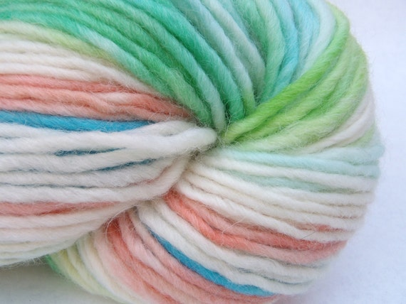"Hand dyed self-striping yarn, worsted wool yarn in ""Summer Seas"""
