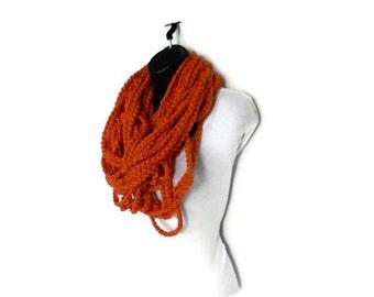 Chunky Infinity Crochet Scarf Eternity Necklace Orange