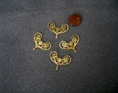 "Plated Brass Filigree Jewelry Finding ""laser lace"" in Bright Gold (4)"