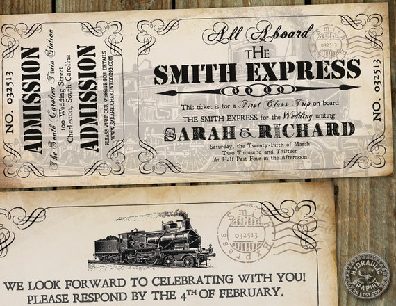 Steampunk inspired Train Ticket Invitation for wedding or birthday at train station with matching response card