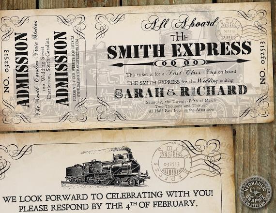 steampunk printable train ticket invitation by