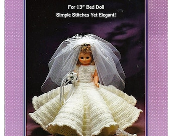Bridal Gown  Bed Doll Crochet Pattern Fibre Craft FCM144