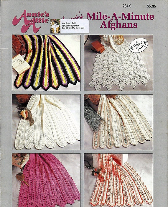 Annies Mile A Minutte Afghans Crochet Pattern Book Annies Attic 234K