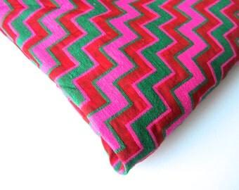 SALE Pink green red velvet chevron, pink silk brocade, pink brocade. fabric nr 90 REMNANT