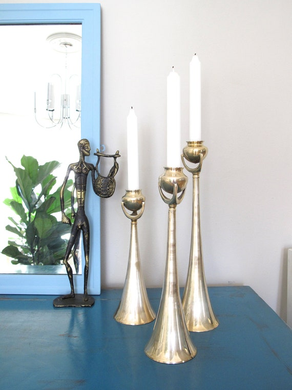 Trio of Modernist Brass Candle Holders