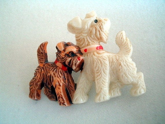 RESERVED Art Deco brooch Celluloid Scottie Dogs 1930s Vintage Wedding Jewelry