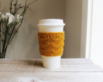 To Go Coffee Cup Cozy - Mustard Gold Yellow, Hand Knit Cozy, 100% Wool, Gifts under 15, Gift for Men