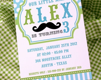 DIY PRINTABLE Invitation Card - Little Man Mustache Lime Green & Baby Blue Birthday Party Invitation - PS829CA3a1