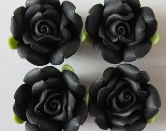 10 pcs 14 mm Polymer Clay Flower ,rose,Beads, FIMO, Pendant Charm craft jewelry Necklaces Earrings Bracelet Accessories - black k8