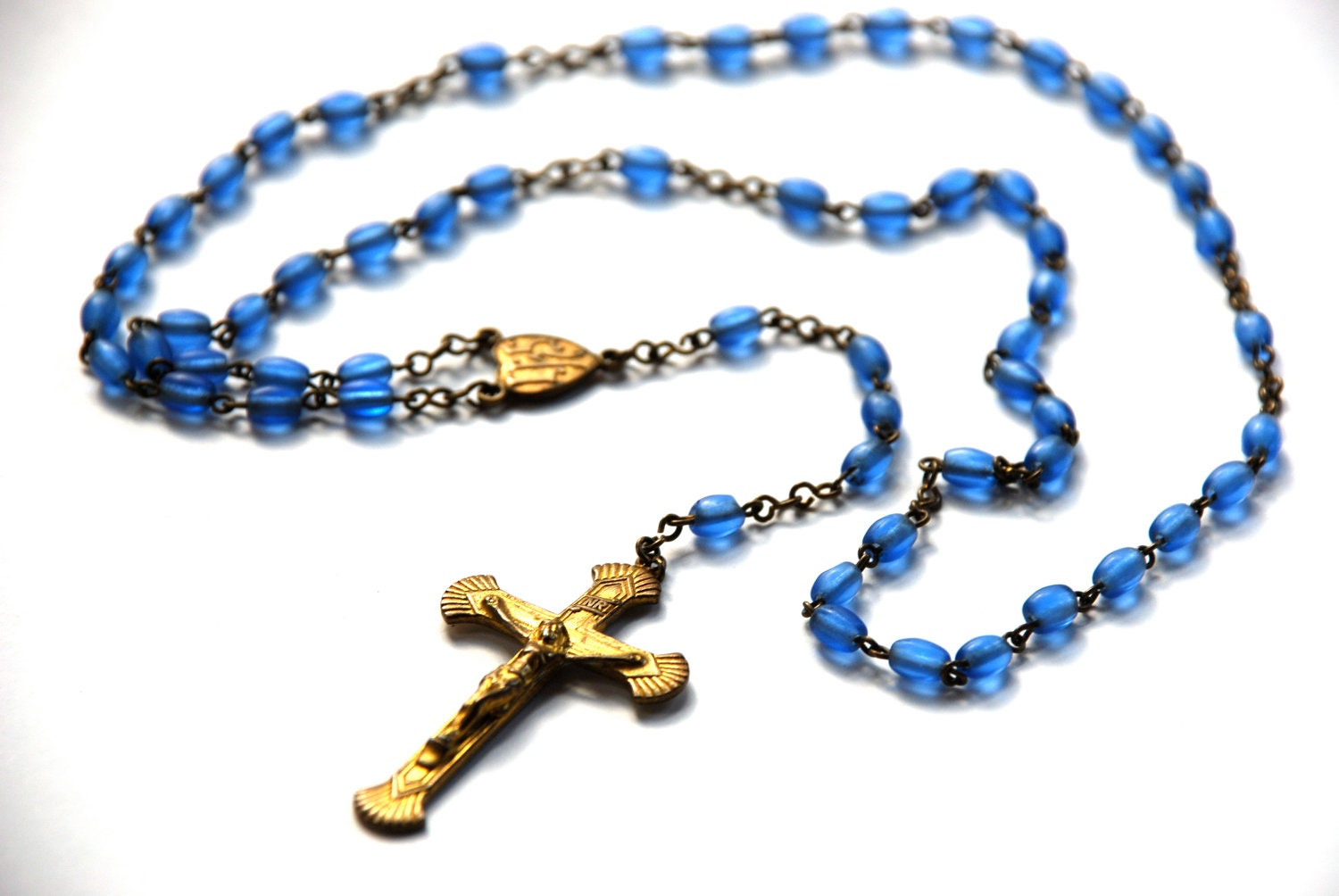 vintage blue rosary five decade glass beads livin on