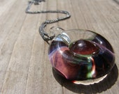 Handmade Necklace: Plum Green Lampwork Pendant with Gunmetal Ball Chain, unique colorful artisanal jewelry jewellery