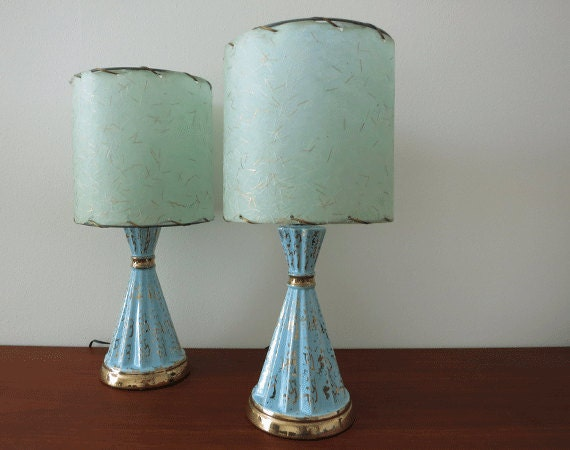Vintage Pair Of 1950s Lamps Turquoise Blue And Gold