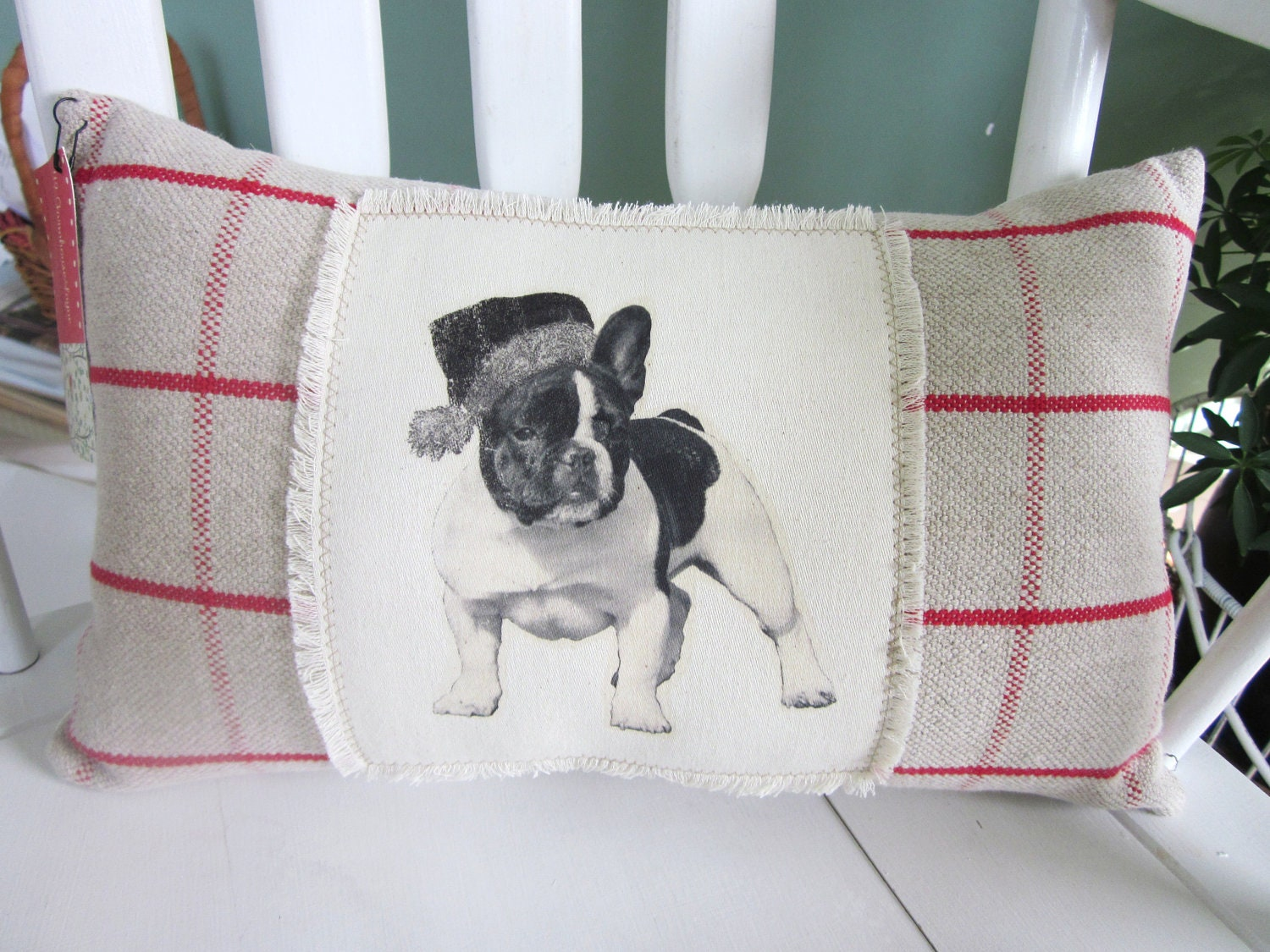 Shabby Chic Christmas Pillows : Christmas pillowbulldog pillow shabby chic farmhouse decor