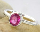 Intense Pink Spinel 925 Sterling Silver Ring, Handmade and one of a kind - 92C007