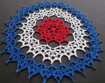 Round crochet 12 1/2 inch red, white, and blue doily