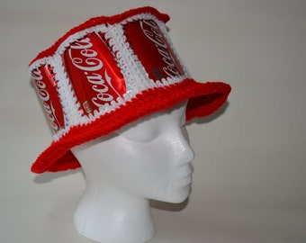 Recycled Coca Cola crocheted soda can hat