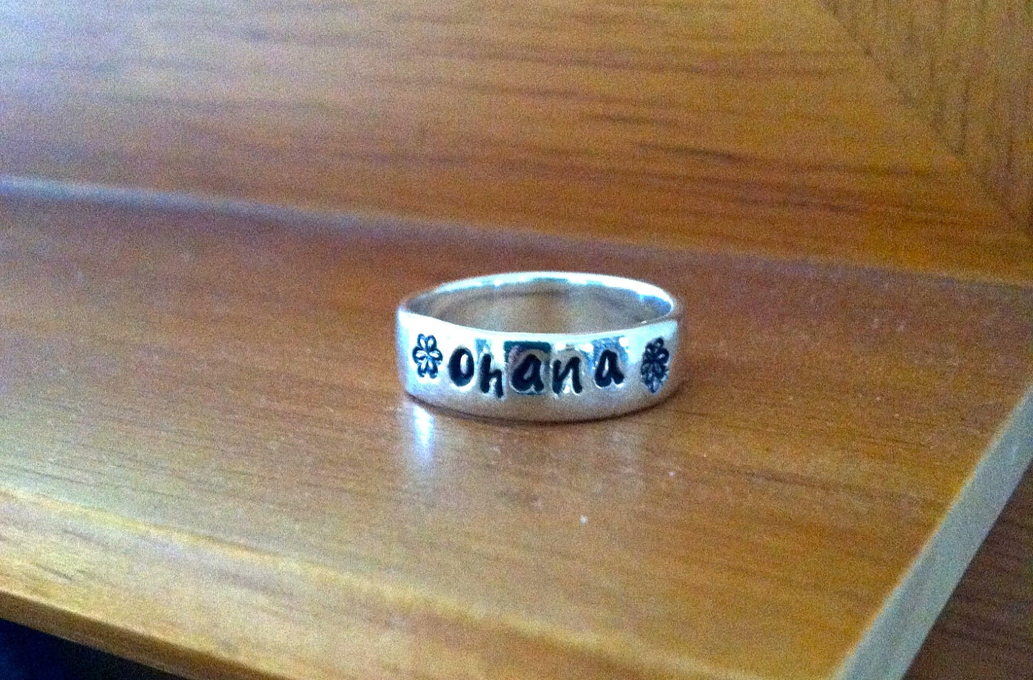 Ohana Sterling Silver Hand Stamped Ring