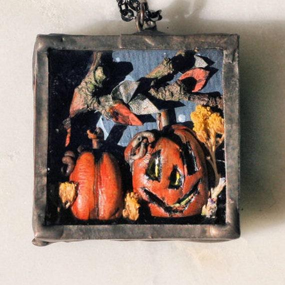 Pumpkin Diorama Polymer Clay Soldered Halloween Necklace