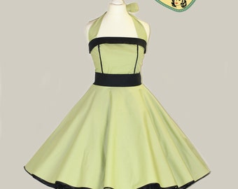 50's vintage dress full skirt uni light green black perfect for a petticoat Tailor Made